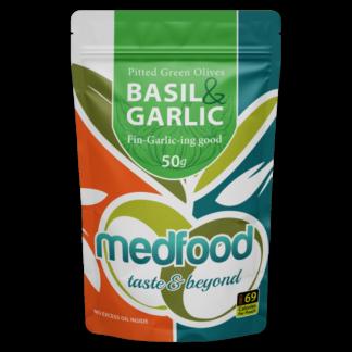 Med Foods Olives with Basil & Garlic - 12x50g