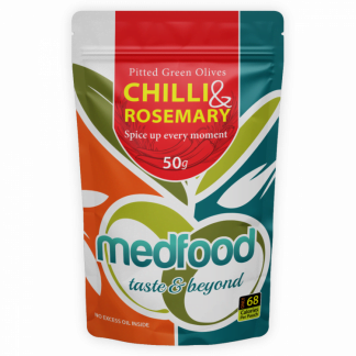 Med Foods Olives with Chilli & Rosemary - 12x50g